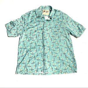 Vintage Silk Watch Print Button Down Shirt